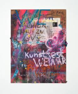 "Renschin, René: Seria ""Medialer Informationskannibalismus"", 2012-13, 36 x 27 cm, Mixed Media auf HDF-Platte, Preis Stk.: 280 EUR"
