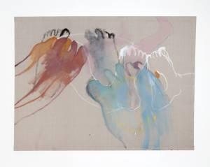 """von Reis, Pia: """"o.T.(feet)"""", 2016, 117 x 157,5 cm, Gouache, Tusche und Buntstift auf Leinen, Preis: 900 EUR"""